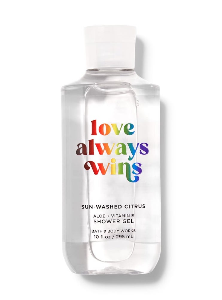 Bath & Body Works just released the Love Always Wins fragrance collection in celebration of Pride Month. The new line features eight products, all having the same citrus scent with notes of sugared lemons, agave nectar, and mandarin.