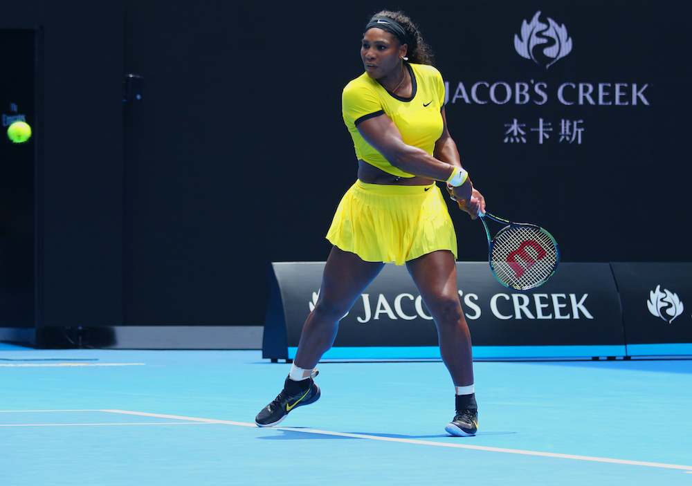 Serena Williams' daughter follows in her footsteps by wearing an adorable mini version of Williams' Australian Open outfit. Her three-year-old daughter, Alexis Olympia Ohanian Jr., rocked the color-blocked ensemble at her tennis lessons.